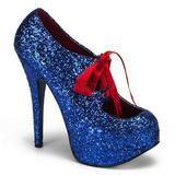blå glitter 14,5 cm TEEZE-10G platform pumps sko