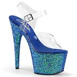 blå glitter 17 cm ADORE-708LG platå høyhælte sandaler sko