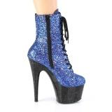 blå glitter 18 cm Pleaser ADORE-1020MG høyhælte snørestøvletter til pole dance
