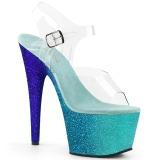 blå glitter 18 cm Pleaser ADORE-708OMBRE pole dancing sko