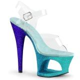 blå glitter 18 cm Pleaser MOON-708OMBRE pole dancing sko