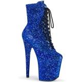 blå glitter 20 cm FLAMINGO-1020GWR høyhælte ankelstøvletter - pole dance støvletter