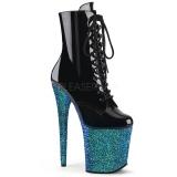 blå glitter 20 cm FLAMINGO-1020LG pole dancing ankelstøvletter