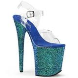 blå glitter 20 cm FLAMINGO-808LG platå høyhælte sandaler sko