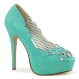 blå kunstlær 13,5 cm BELLA-30 dame pumps sko med åpen tå