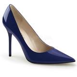 blå lakk 10 cm CLASSIQUE-20 store størrelser stilettos sko