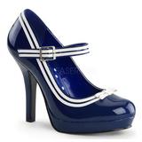 blå lakk 12 cm PINUP SECRET-15 Mary Jane platå pumps høy hæl