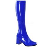 blå lakk 8,5 cm Funtasma GOGO-300 høye støvler dame