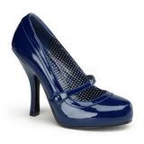 blå lakkert 12 cm CUTIEPIE-02 dame pumps sko flate hæl