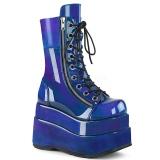 blå lakklær 11,5 cm BEAR-265 demonia ankelstøvletter platå