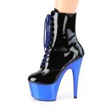blå lakklær 18 cm ADORE-1020 krom platå ankelstøvletter til dame
