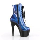 blå lakklær 18 cm ADORE-1020SHG pole dancing ankelstøvletter