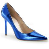 blå metallic 10 cm CLASSIQUE-20 dame pumps sko stiletthæl