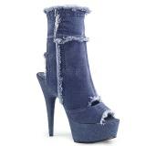 blå neon 15 cm DELIGHT-1030 canvas joggesko med høye hæler