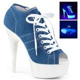 blå neon 15 cm DELIGHT-600SK-01 canvas joggesko med høye hæler