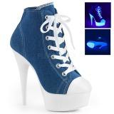 blå neon 15 cm DELIGHT-600SK-02 canvas joggesko med høye hæler