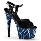 blå neon 18 cm Pleaser ADORE-709NLB platå høye hæler sko