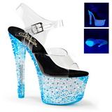 blå neon 18 cm Pleaser CRYSTALIZE-308PS platå høye hæler sko