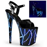 blå neon 20 cm Pleaser FLAMINGO-809NLB platå høye hæler sko