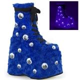 blå pels 18 cm SLAY-206 lolita ankelstøvletter platå