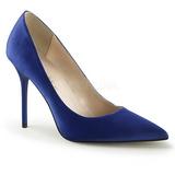 blå satin 10 cm CLASSIQUE-20 spisse pumps med stiletthæler
