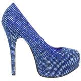 blå strass 14,5 cm Burlesque TEEZE-06R høye platform pumps sko