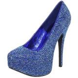 blå strass 14,5 cm TEEZE-06R høye platform pumps sko