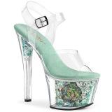 blå transparent 18 cm SKY-308CF høyhælte sandaler - pole dance hæler