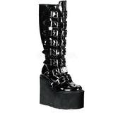 blank 9 cm SWING-815 høye platåstøvler til dame med spenner