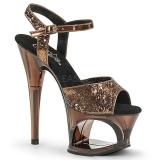 bronse 18 cm MOON-710GT glitter platå høye hæler dame