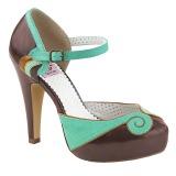 brun 11,5 cm retro vintage BETTIE-17 pinup pumps sko med skjult platå