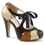 brun 11,5 cm retro vintage BETTIE-19 høye damesko med hæl