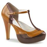 brun 11,5 cm retro vintage BETTIE-29 pinup pumps sko med skjult platå