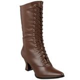 brun 7 cm VICTORIAN-120 dame ankelstøvletter med snøring