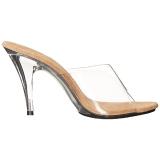 brun gjennomsiktig 11 cm CARESS-401 plateau høyhælte slipper sko