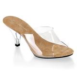 brun gjennomsiktig 8 cm BELLE-301 høye slip in sko til menn