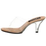brun gjennomsiktig 8 cm BELLE-301 høyhælte slipper sko