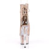 brun glitter 18 cm ADORE-1018G ankelstøvletter med platåsåle til dame