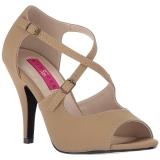 brun kunstlær 10 cm DREAM-412 store størrelser sandaler dame