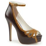 brun kunstlær 13,5 cm BELLA-31 dame pumps sko med åpen tå