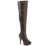brun kunstlær 13 cm CHLOE-308 overknee støvler brede lægge