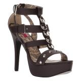 brun kunstlær 14,5 cm Burlesque TEEZE-42W high heels for brede føtter til menn