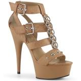 brun kunstlær 15 cm DELIGHT-658 pleaser sko med høye hæler