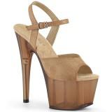 brun kunstlær 18 cm ADORE-709T pleaser platåsandaler for kvinner