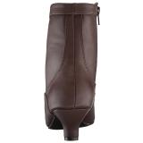 brun kunstlær 5 cm FAB-1005 store størrelser ankelstøvletter dame