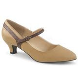 brun kunstlær 5 cm FAB-425 store størrelser pumps sko