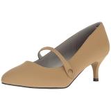 brun kunstlær 6,5 cm KITTEN-03 store størrelser pumps sko
