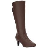 brun kunstlær 7,5 cm DIVINE-2018 store størrelser støvler dame