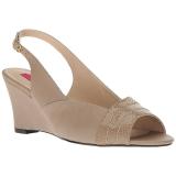 brun kunstlær 7,5 cm KIMBERLY-01SP store størrelser sandaler dame