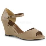 brun kunstlær 7,5 cm KIMBERLY-05 store størrelser sandaler dame